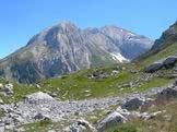 Via Normale Picco dei Caprai - I Due Corni del Gran Sasso visto dalla morena della Conca del Sambuco