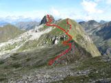 Via Normale Pizzo di Valbona - Percorso e cima visti dalla cresta N del M. Toro