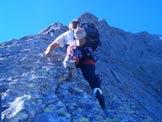 Via Normale Pizzo Badile - Spigolo Nord - L'autore in arrampicata sullo spigolo....