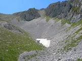 Via Normale Vetta Sassetelli - Il nevaio nell´anfiteatro della parete Nord del Monte Sassetelli