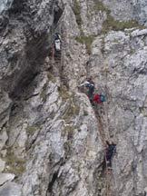 Via Normale Fungo - Le scale che conducono al Caminetto Pagani.