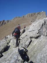 Via Normale Sasso Bianco - Il tratto roccioso prima del traverso.