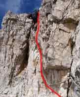 Via Normale Birkenkofel - Croda dei Baranci - Il camino attrezzato