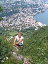 Via Normale Monte San Salvatore - Ferrata D. Ossola - L´ uscita dalla Ferrata con Lugano alle spalle.