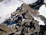 Via Normale Piz Kesch - Sul bellissimo sperone NE del Kesch. La parete N, a sinistra, è alta più di 500 m