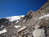 Via Normale Piz Tschierva - A destra, la parete da scalare per accedere alla Fuorcla da Boval
