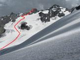 Via Normale Madaccio di dentro - Percorso lungo il ghiacciaio inferiore