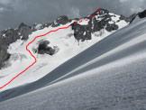 Via Normale Cima Tuckett - Percorso lungo il ghiacciaio