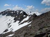 Via Normale Piz Lischana - In discesa, al centro il tratto di cresta più impegnativo, se innevato.