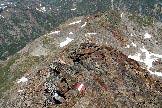 Via Normale Monte Vago - Lo sviluppo della cresta NW dalla cima