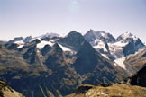 Via Normale Piz Surlej - Il panorama di vetta verso il Bernina