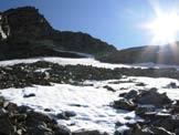 Via Normale Pizzo Paradisino - In salita sul pendio sopra la conca glaciale