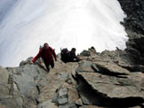 Via Normale Cima di Piazzi dalla Val Verva - Sulle roccette sotto la vetta