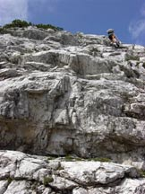 Via Normale Dente della Fopa - Ultime roccette sotto la vetta
