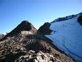 Via Normale Palon de la Mare - Sulla cresta a sinistra del ghiacciaio