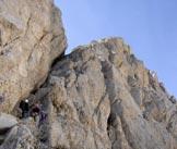 Via Normale Corno Grande - Torrione Cambi - La via Gualerzi verso la Forchetta