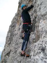 Via Normale Campanile Basso - L'inizio dell'ultimo tiro sulla parete Ampferer