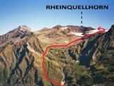 Via Normale Rheinquellhorn - L´itinerario da SSE