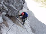 Via Normale Monte Coglians - Weg Der 26er - Il delicato traverso sulla placca inclinata
