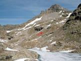 Via Normale Pizzo Forato - Dal Lago Croce, a sinistra il Passo Forato e a destra il Pizzo Forato