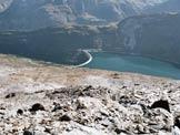 Via Normale Pizzo della Palü - In discesa, al centro il muraglione della diga