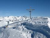 Via Normale Monte Colombine da SE - Croce di vetta e tavola di orientamento