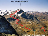 Via Normale Piz Corvatsch - L'itinerario da NNE