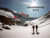 Via Normale Galenstock - Verso la cresta SSW e le due possibilità per raggiungerla