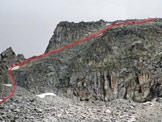 Via Normale Cima Plem - dal Gnutti - A sinistra il canale, al centro le placche e a destra la vetta