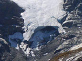 Via Normale Pizzo di Canciano - da NW - La fronte del ghiacciaio, in un´immagine ripresa il 02.10.2011