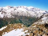 Via Normale Monte Combolo - Dalla vetta, la testata della Val Fontana e, dietro, il Gruppo del Bernina