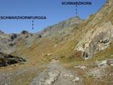 Via Normale Schwarzhorn - Lo Schwarzhorn dal sentiero di salita