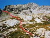 Via Normale Pizzo Porcellizzo - A sinistra l'intaglio sulla cresta SSE, al centro la vetta