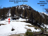 Via Normale Pizzo Meriggio - Dove si abbandona la stradina sterrata