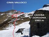 Via Normale Cima Vallocci - Nel cerchio la casera alta di Dordona e lo stallone