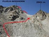 Via Normale Flüela-Wisshorn - Il secondo pendio morenico e la sella sulla cresta