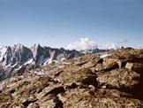 Via Normale Piz dal Märc - A destra la vetta, a sinistra il Gruppo Masino-Bregaglia
