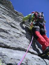 Via Normale Zapporthorn-Spigolo SSE - Tratto di arrampicata.