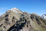 Via Normale Corno dei Becchi - Via Normale da S - Il Corno dei Becchi dalla cima del Sasso Maurone.