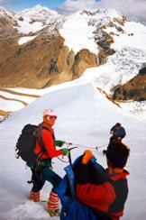 Via Normale Punta San Matteo - dai Forni - A centro immagine la (q. 3260 m)