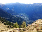Via Normale Monte Storile - Via Normale da E - Vista verso Sondalo dal Passo della Forcola.