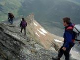 Via Normale Piz Grisch - In discesa, sulla cresta affilata