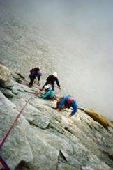 Via Normale Punta della Sfinge - Sulle placche e lame