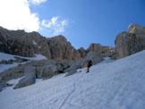 Via Normale Corno Grande - Vetta Occidentale - Via del Ghiacciaio - Sui ripidi pendii alle spalle del rifugio.