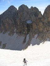 Via Normale Corno Grande - Vetta Occidentale - Via del Ghiacciaio - Sul tratto intermedio del ghiacciaio.