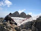 Via Normale Corno Grande - Vetta Occidentale - Via del Ghiacciaio - Sulla selletta all�uscita del ghiacciaio.