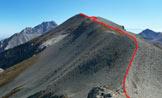 Via Normale Monte Corvo (cresta W) - Il tratto finale della cresta