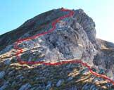 Via Normale Monte Corvo - Vetta Occidentale (cresta W) - Il frastagliato andamento della cresta