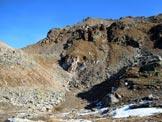 Via Normale Corno delle Ruzze - cresta W - A sinistra la bocchetta (q. 2700 m) e a destra la cresta W