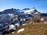 Via Normale Corno delle Ruzze - cresta W - Il Ghiacciaio e il Gruppo dello Scalino, dalla vetta.